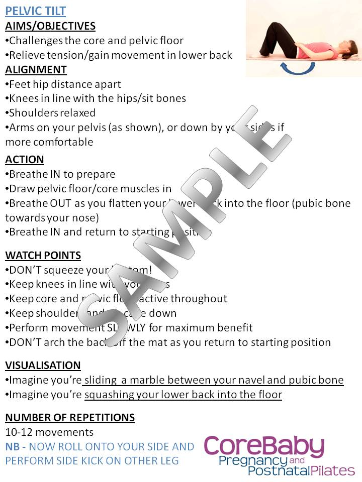 Postnatal Pilates Worksheets Claire Mockridgeclaire