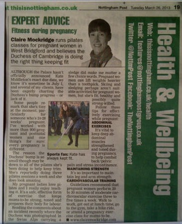 Nottingham Evening Post column featuring Claire Mockridge