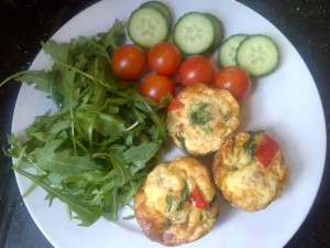 egg muffins and salad