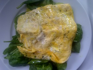 3 egg omelette and spinach