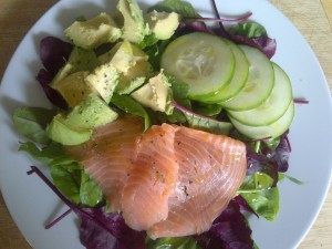 smoked salmon and salad